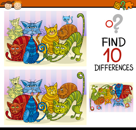 brain game: Cartoon Illustration of Finding Differences Educational Game for Preschool Children