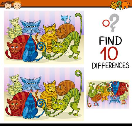 gato caricatura: Ejemplo de la historieta de encontrar diferencias juego educativo para niños en edad preescolar