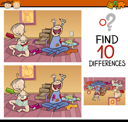 school baby: Cartoon Illustration of Finding Differences Educational Game for Preschool Children