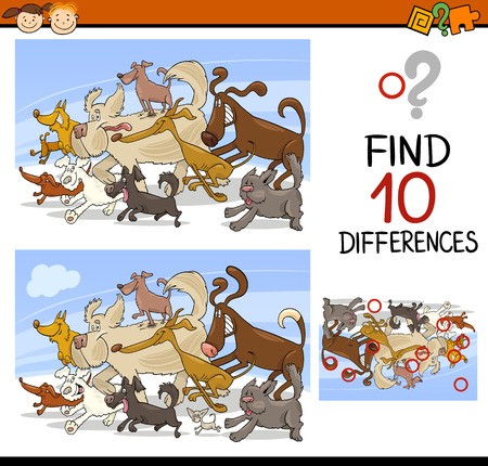 children studying: Cartoon Illustration of Finding Differences Educational Game for Preschool Children