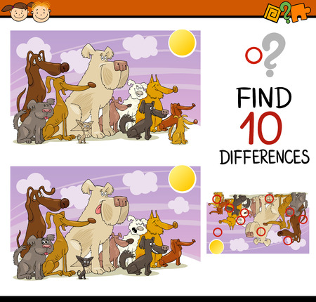 dog school: Cartoon Illustration of Finding Differences Educational Game for Preschool Children