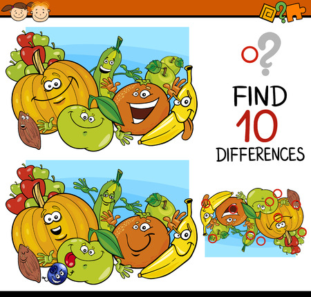 Cartoon Illustration of Finding Differences Educational Game for Preschool Children Stok Fotoğraf - 37679995