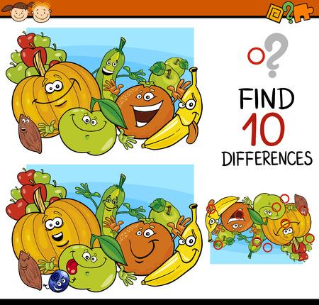 Ejemplo de la historieta de encontrar diferencias juego educativo para niños en edad preescolar