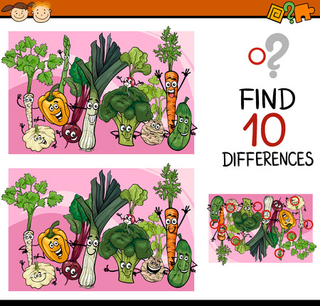 find a solution: Cartoon Illustration of Finding Differences Educational Game for Preschool Children