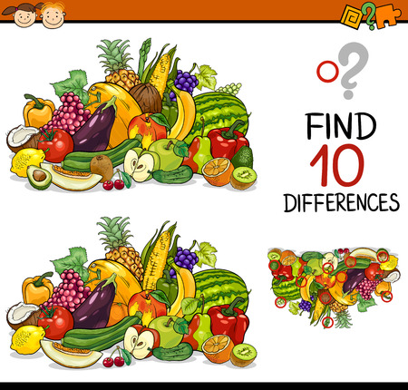 Cartoon Illustration of Finding Differences Educational Game for Preschool Children