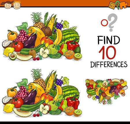 frutas divertidas: Ejemplo de la historieta de encontrar diferencias juego educativo para niños en edad preescolar