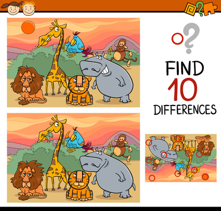 preschools: Cartoon Illustration of Finding Differences Educational Game for Preschool Children
