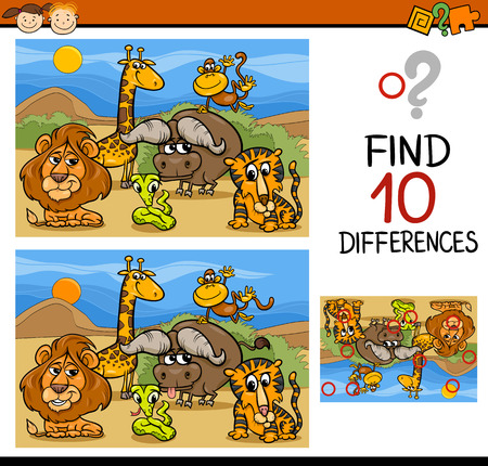 Cartoon Illustratie van Zoek de Verschillen Educatief spel voor kleuters Stockfoto - 37680000
