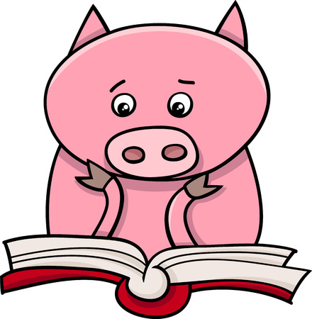 Cartoon Illustration of Funny Pig Animal Character Learning and Reading a Book Vector
