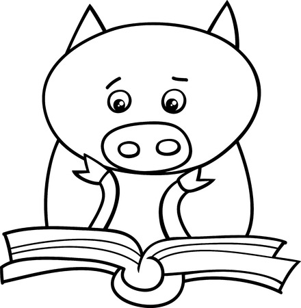 Black and White Cartoon Illustration of Funny Pig Animal Character Learning and Reading a Book for Coloring Book Vector