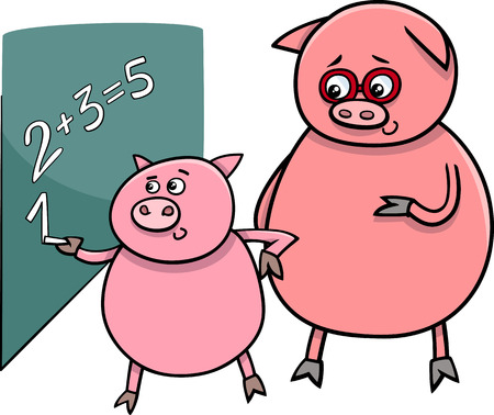 Cartoon Illustration of Funny Pig Animal Character on Math Lesson at Blackboard Vector