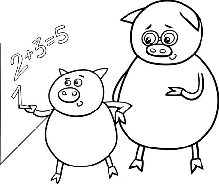 Black and White Cartoon Illustration of Funny Pig Animal Character on Math Lesson at Blackboard for Coloring Book Vector