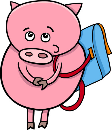 satchel: Cartoon Illustration of Funny Pig Animal Character Going to School with Satchel