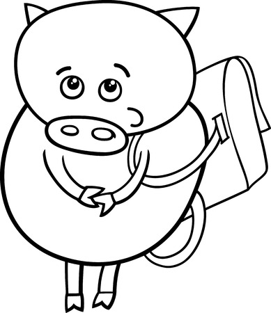 satchel: Black and White Cartoon Illustration of Funny Pig Animal Character Going to School with Satchel for Coloring Book