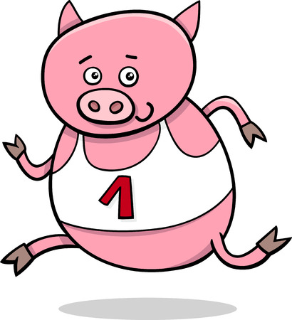 Cartoon Illustration of Funny Pig Animal Character Running on Physical Education Lesson Vector