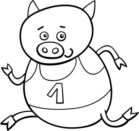 physical education: Black and White Cartoon Illustration of Funny Pig Animal Character Running on Physical Education Lesson for Coloring Book