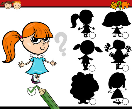 riddles: Cartoon Illustration of Education Shadow Matching Game for Preschool Children Illustration