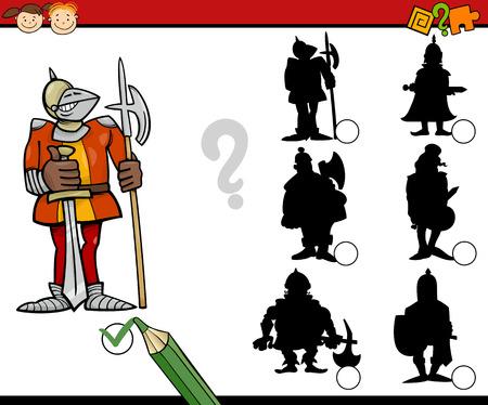 shadow people: Cartoon Illustration of Education Shadow Matching Game for Preschool Children Illustration