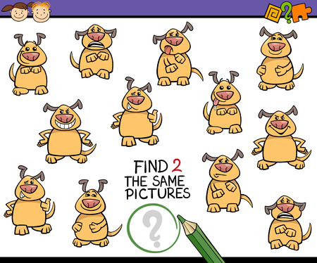 funny pictures: Cartoon Illustration of Finding the Same Picture Educational Game for Preschool Children