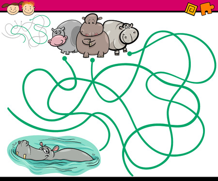 Cartoon Illustration of Education Paths or Maze Game for Preschool Children with Children and Present