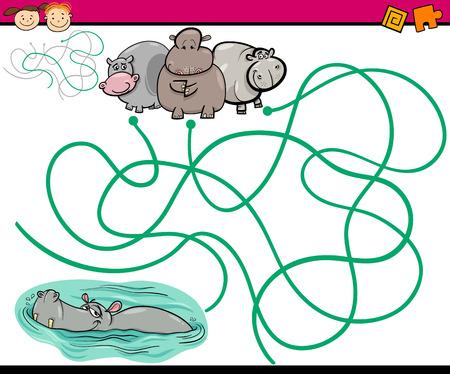 laberinto: Ejemplo de la historieta de los itinerarios de educaci�n o juego de laberinto para ni�os en edad preescolar con ni�os y Presente
