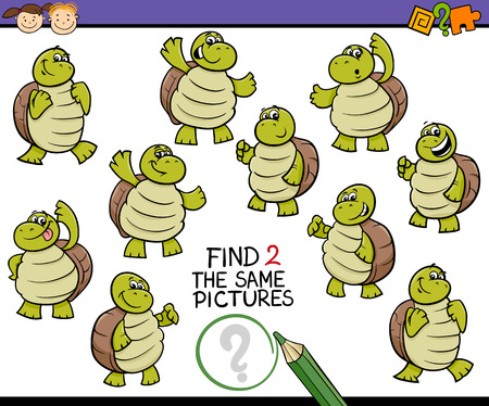 Cartoon Illustration of Finding the Same Picture Educational Game for Preschool Children