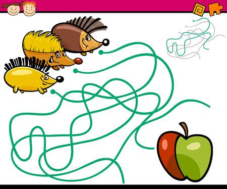 어린이와 현재와 취학 전 어린이를위한 교육 경로 또는 미로 게임의 만화 그림 일러스트