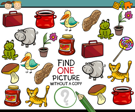 a picture: Cartoon Illustration of Finding Single Picture without Copy Educational Game for Preschool Children