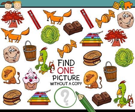 single person: Cartoon Illustration of Finding Single Picture without Copy Educational Game for Preschool Children
