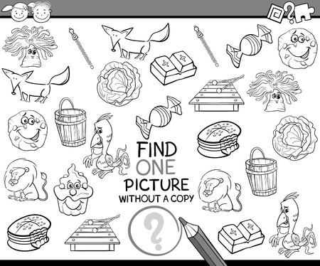 once person: Black and White Cartoon Illustration of Finding Single Picture without Copy Educational Game for Preschool Children Illustration
