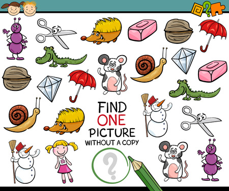 single animal: Cartoon Illustration of Finding Single Picture without Copy Educational Game for Preschool Children