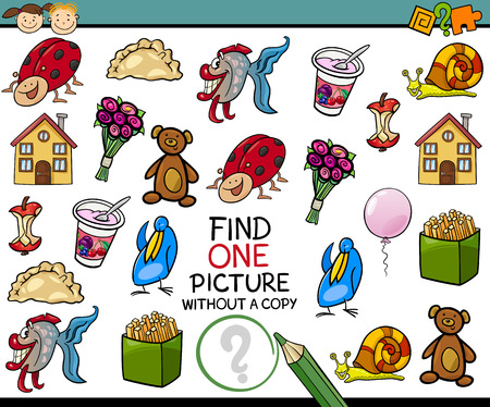 preschool kids: Cartoon Illustration of Finding Single Picture without Copy Educational Game for Preschool Children