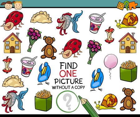 preescolar: Ejemplo de la historieta de Buscando sola imagen sin Copia juego educativo para niños en edad preescolar