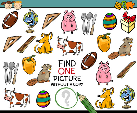single animal: Cartoon Illustration of Finding Single Picture without a Pair Educational Game for Preschool Children Illustration