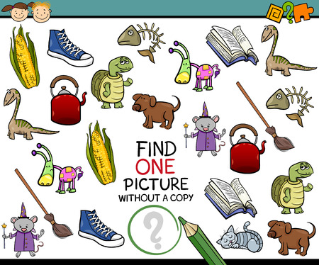 preschool: Cartoon Illustration of Finding Single Picture without a Pair Educational Game for Preschool Children Illustration