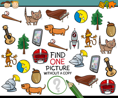 teaser: Cartoon Illustration of Finding Single Picture without a Pair Educational Game for Preschool Children Illustration