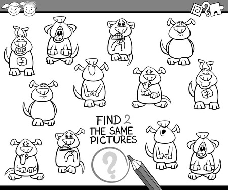 brain teaser: Black and White Cartoon Illustration of Finding the Same Pictures Educational Game for Preschool Children Illustration