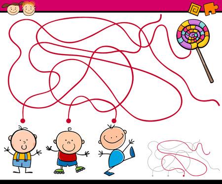 laberinto: Ejemplo de la historieta de los itinerarios de educaci�n o juego de laberinto para ni�os en edad preescolar