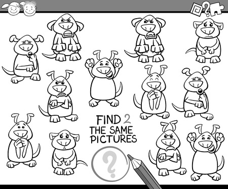 the same: Black and White Cartoon Illustration of Finding the Same Pictures Educational Game for Preschool Children Illustration