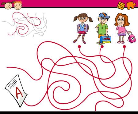 teaser: Cartoon Illustration of Education Paths or Maze Game for Preschool Children