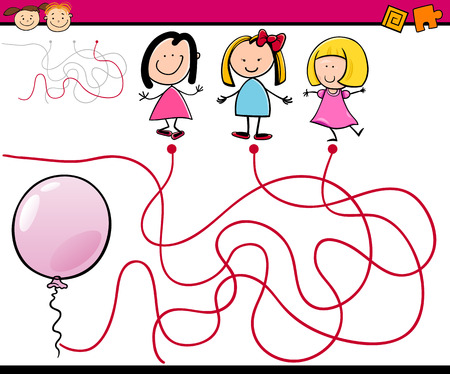 Cartoon Illustration of Education Paths or Maze Game for Preschool Children