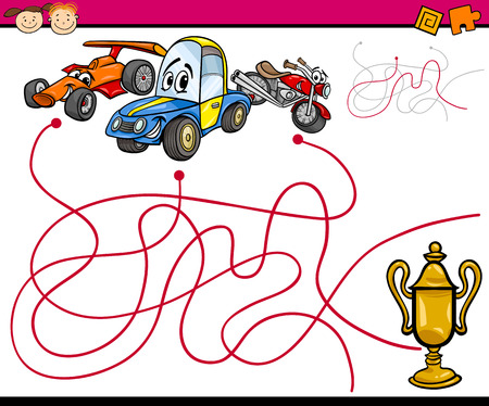 Cartoon Illustration of Education Paths or Maze Game for Preschool Children with Cars Vector
