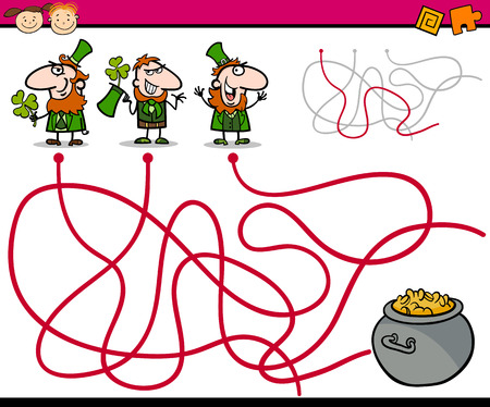 paths: Cartoon Illustration of Education Paths or Maze Game for Preschool Children