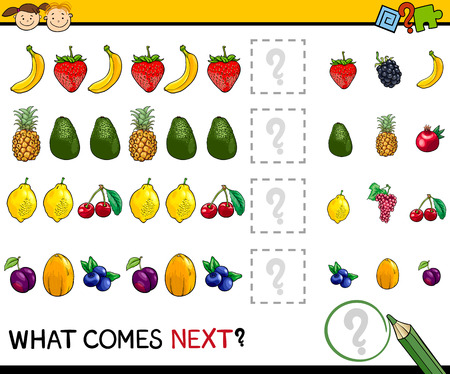 fruit illustration: Cartoon Illustration of Completing the Pattern Educational Game for Preschool Children Illustration