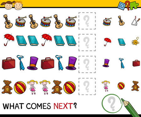Cartoon Illustration of Completing the Pattern Educational Game for Preschool Children Vettoriali