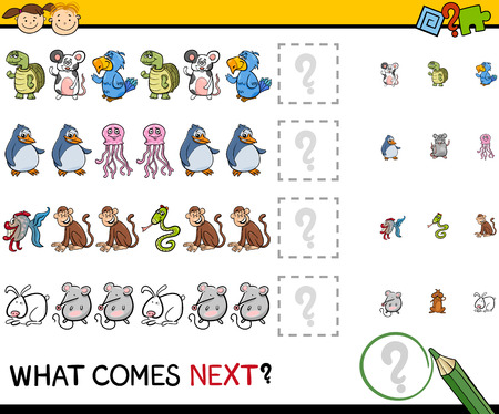 Cartoon Illustration of Completing the Pattern Educational Game for Preschool Children 矢量图像