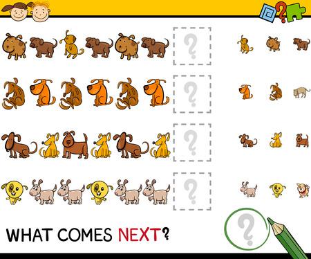 Cartoon Illustration of Completing the Pattern Educational Game for Preschool Children Illustration