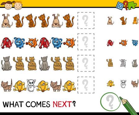 teaser: Cartoon Illustration of Completing the Pattern Educational Game for Preschool Children Illustration