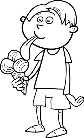 black boys: Black and White Cartoon Illustration of Kid Boy Eating Ice Cream for Coloring Book Illustration