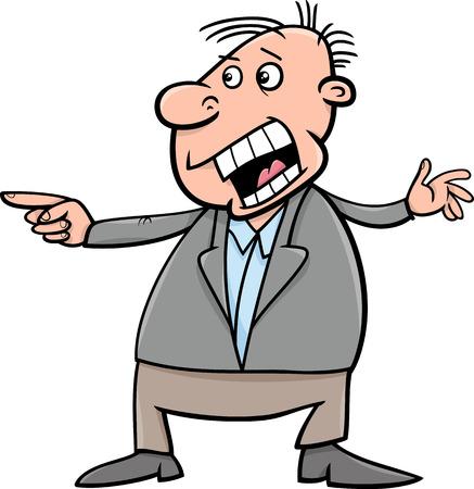 outraged: Cartoon Illustration of Outraged Shouting Man Illustration